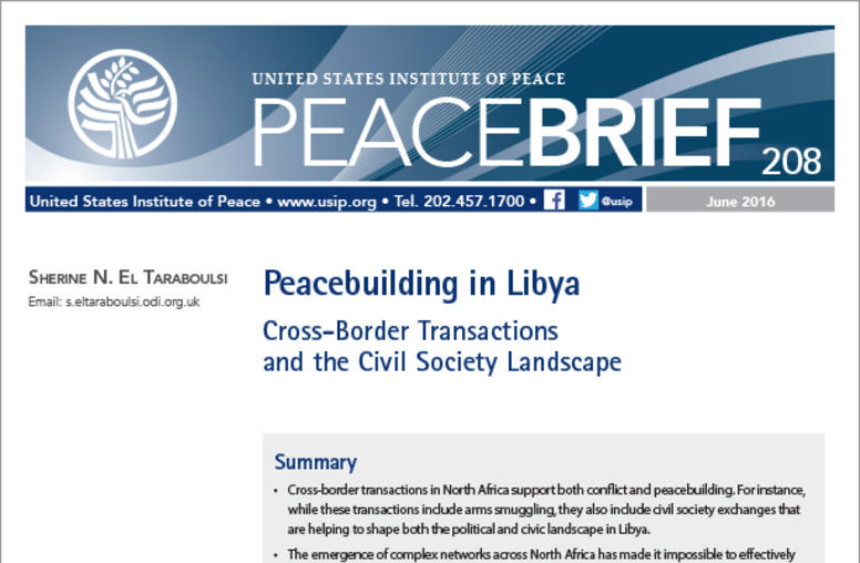 Peacebuilding in Libya: Cross-Border Transactions and The Civil Society Landscape