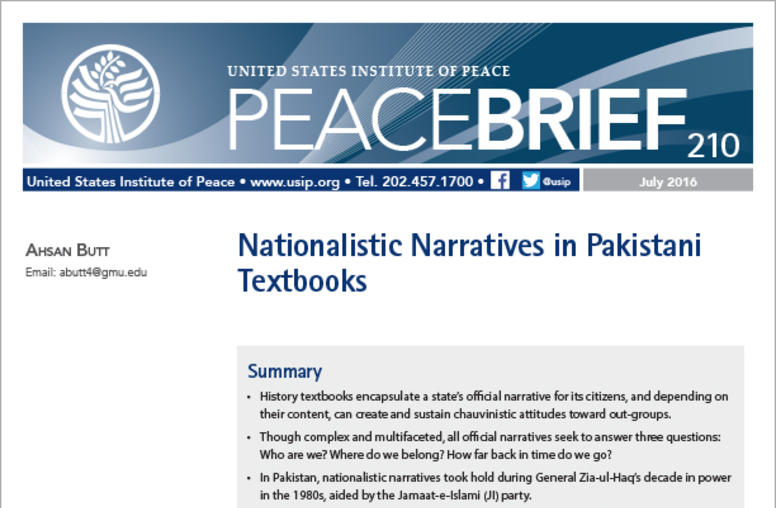 Nationalistic Narratives in Pakistani Textbooks