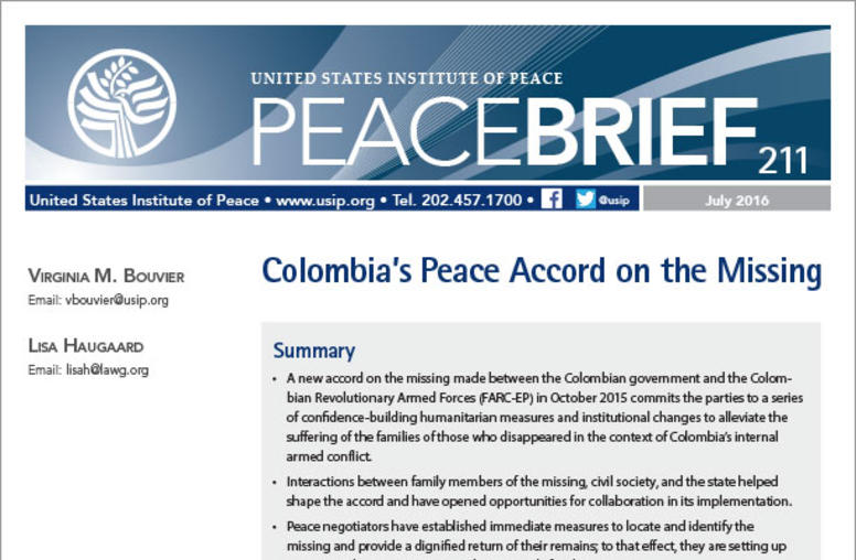 Colombia's Peace Accord on the Missing
