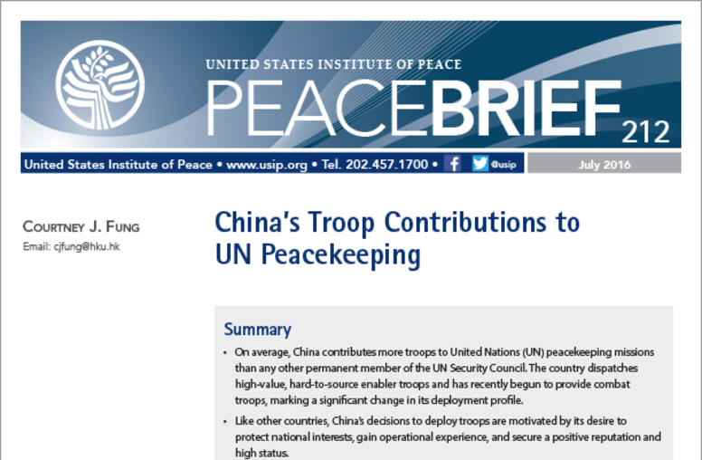China's Troop Contributions to U.N. Peacekeeping