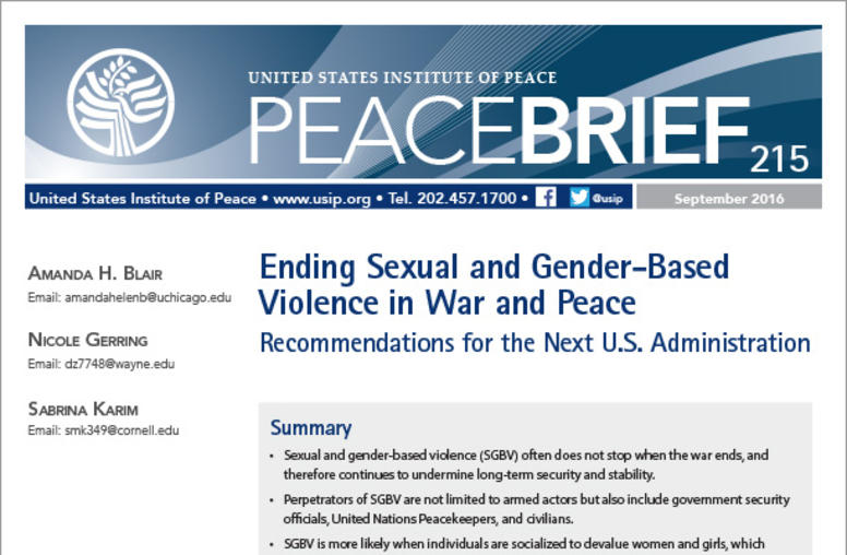 Ending Sexual and Gender-Based Violence in War and Peace