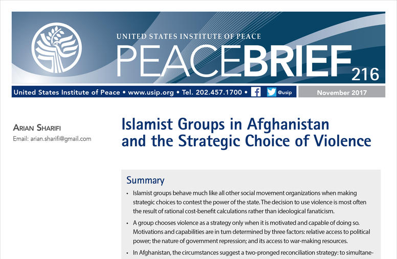 Islamist Groups in Afghanistan and the Strategic Choice of Violence