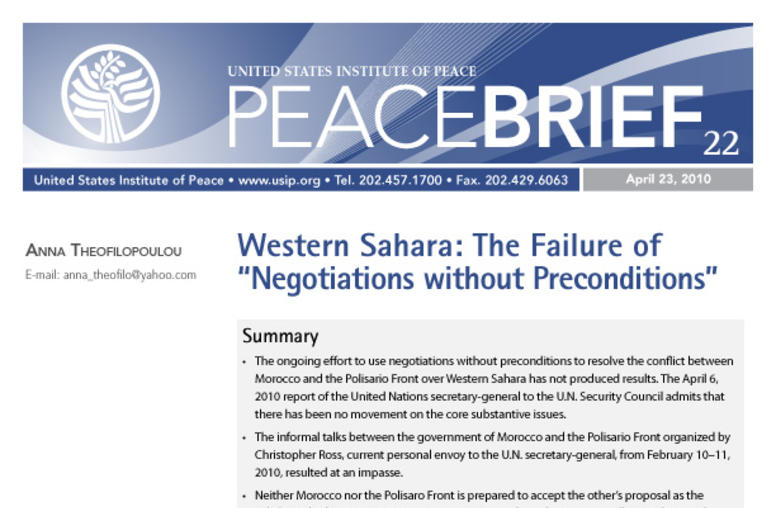 "Western Sahara: The Failure of ""Negotiations without Preconditions"""