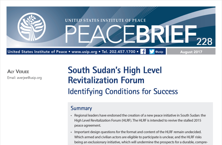 South Sudan's High Level Revitalization Forum