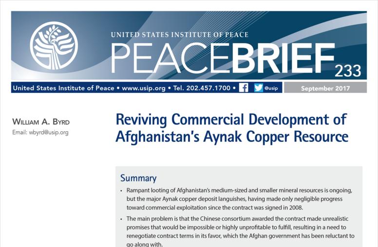 Reviving Commercial Development of Afghanistan's Aynak Copper Resource
