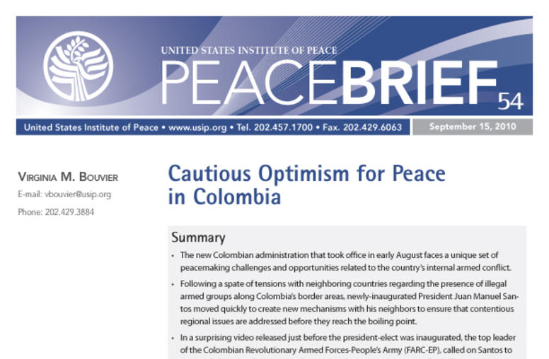 Cautious Optimism for Peace in Colombia