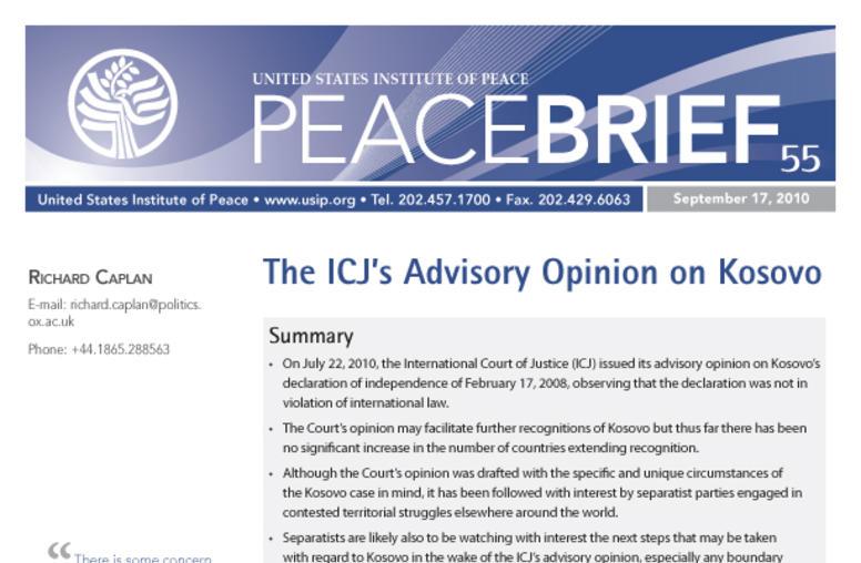 The ICJ's Advisory Opinion on Kosovo