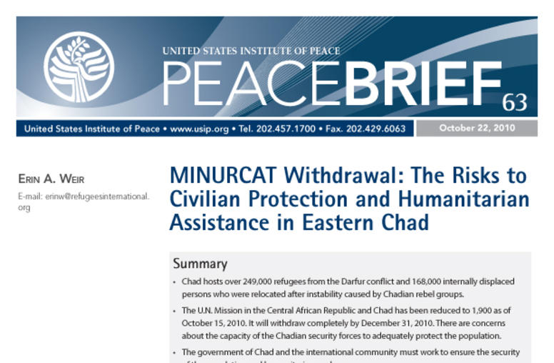 MINURCAT Withdrawal: The Risks to Civilian Protection and Humanitarian Assistance in Eastern Chad