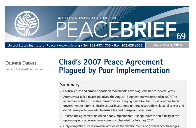 Chad's 2007 Peace Agreement Plagued by Poor Implementation