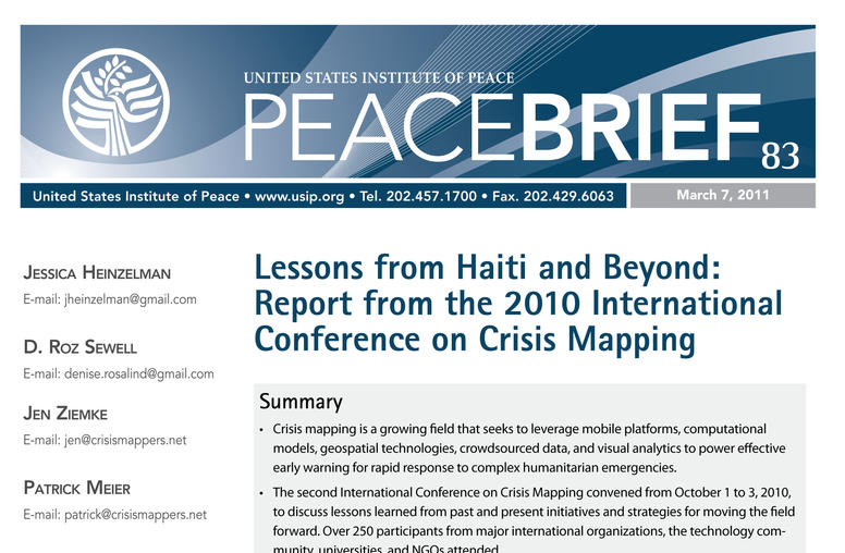 Lessons from Haiti and Beyond: Report from the 2010 International Conference on Crisis Mapping