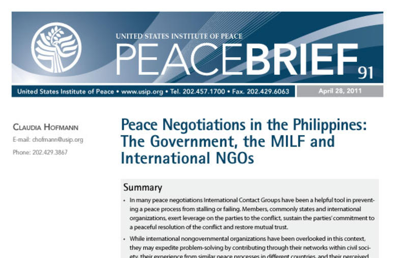 Peace Negotiations in the Philippines: The Government, the MILF and International NGOs