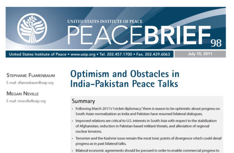 tourism and peacebuilding in jammu and kashmir united states  optimism and obstacles in peace talks