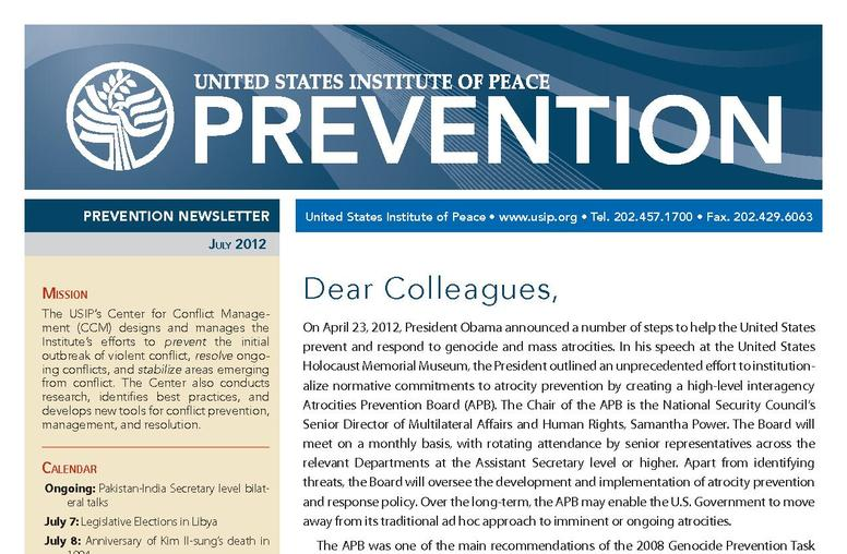 USIP Prevention Newsletter - July 2012