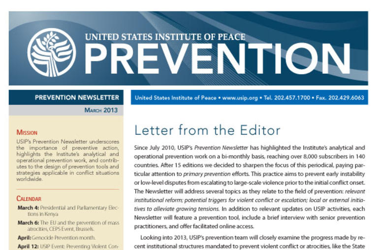 USIP Prevention Newsletter - March 2013