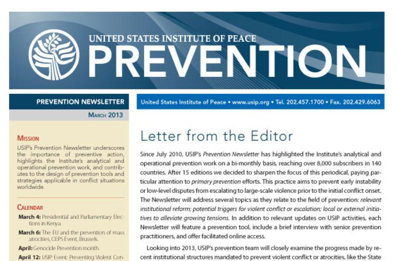 USIP Prevention Newsletter - March 2013