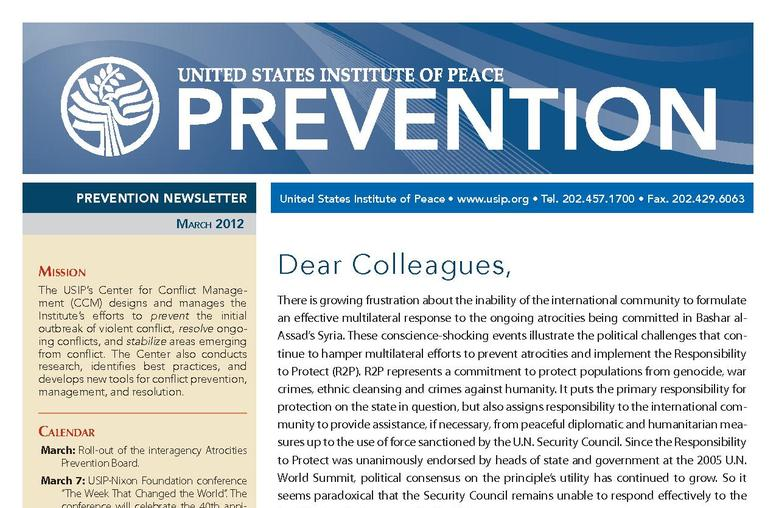 USIP Prevention Newsletter - March 2012