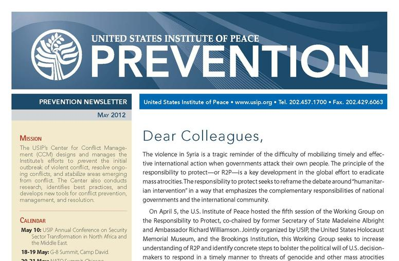 USIP Prevention Newsletter - May 2012