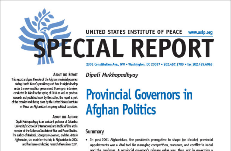 Provincial Governors in Afghan Politics