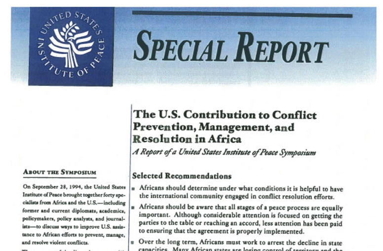 The U.S. Contribution to Conflict Prevention, Management, and Resolution in Africa
