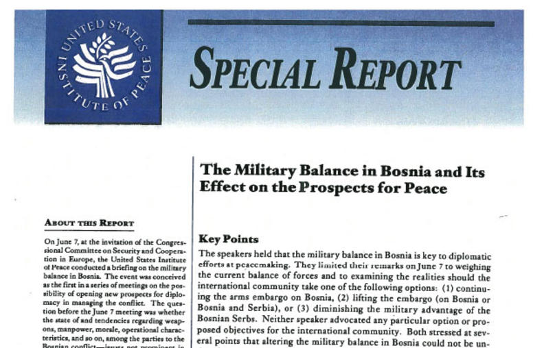 The Military Balance in Bosnia and Its Effect on the Prospects for Peace