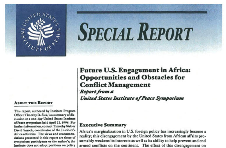 Future U.S. Engagement in Africa Opportunities and Obstacles for Conflict Management