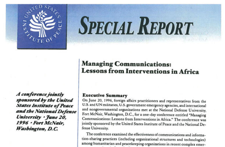 Managing Communications: Lessons from Interventions in Africa