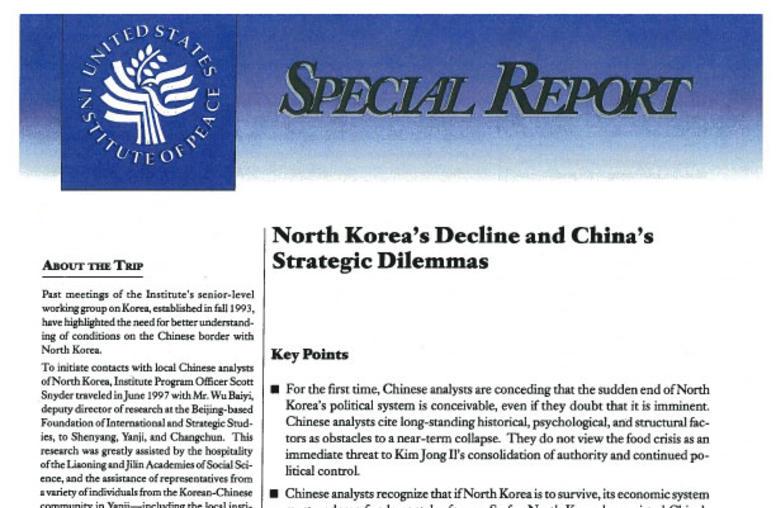North Korea's Decline and China's Strategic Dilemmas