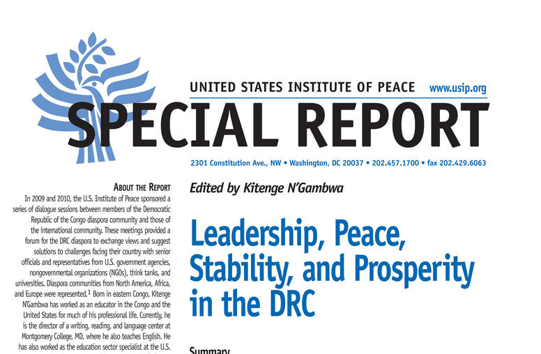Leadership, Peace, Stability, and Prosperity in the DRC