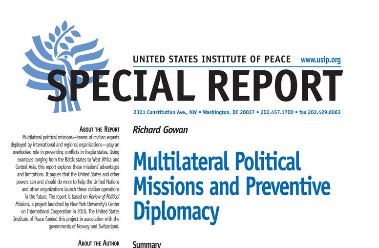 Multilateral Political Missions and Preventive Diplomacy
