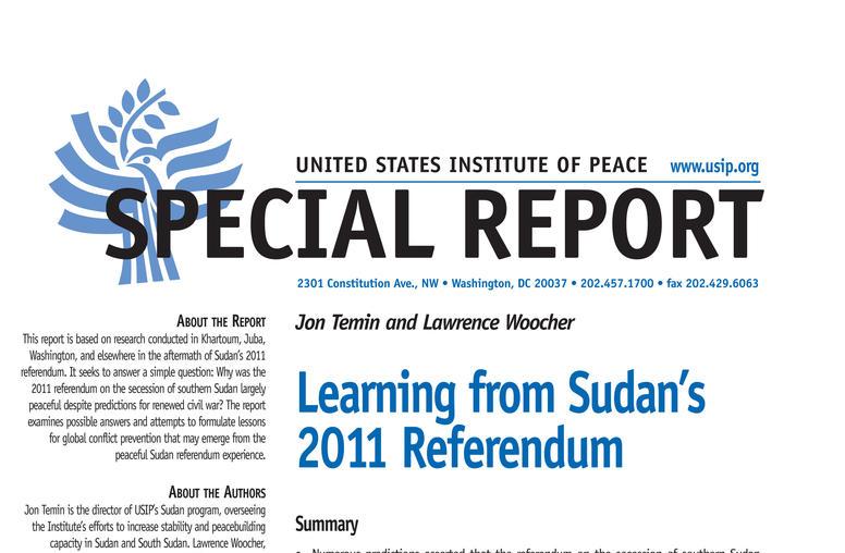 Learning from Sudan's 2011 Referendum