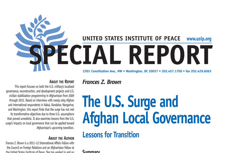 The U.S. Surge and Afghan Local Governance