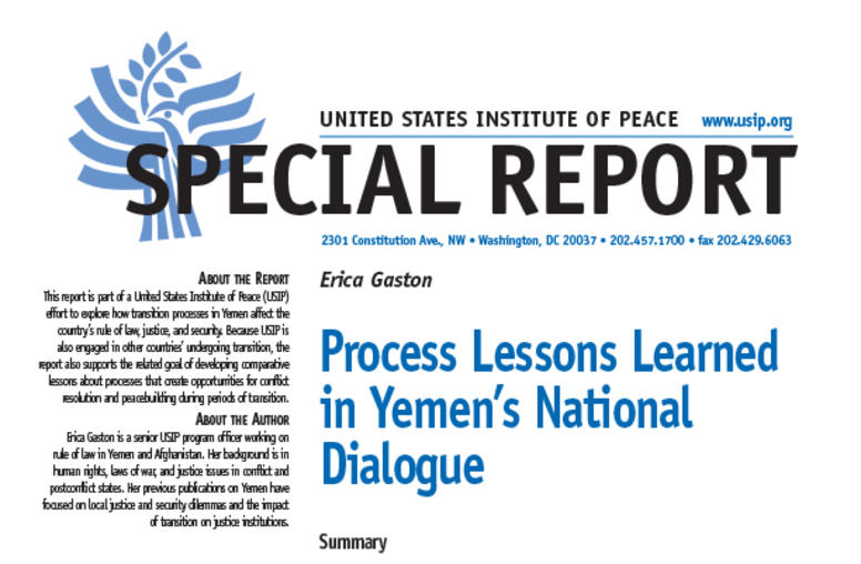 Process Lessons Learned in Yemen's National Dialogue