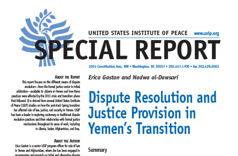 Dispute Resolution and Justice Provision in Yemen's Transition