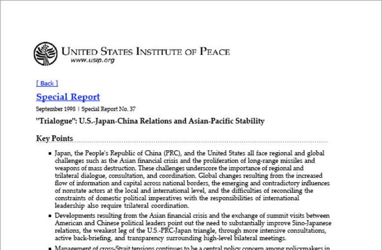 """Trialogue"": U.S.-Japan-China Relations and Asian-Pacific Stability"