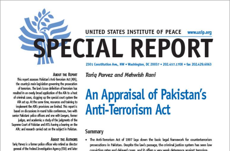 An Appraisal of Pakistan's Anti-Terrorism Act