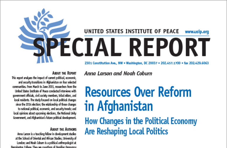 Resources over Reform in Afghanistan