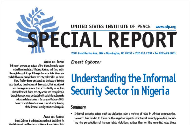 Understanding the Informal Security Sector in Nigeria