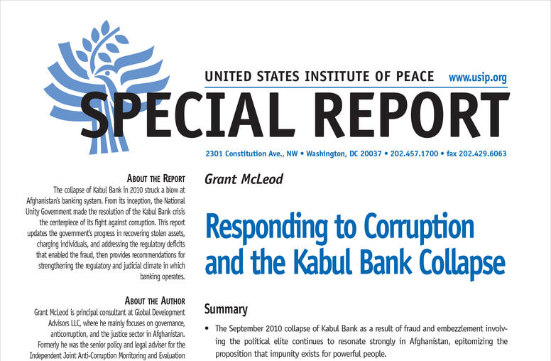 Responding to Corruption and the Kabul Bank Collapse