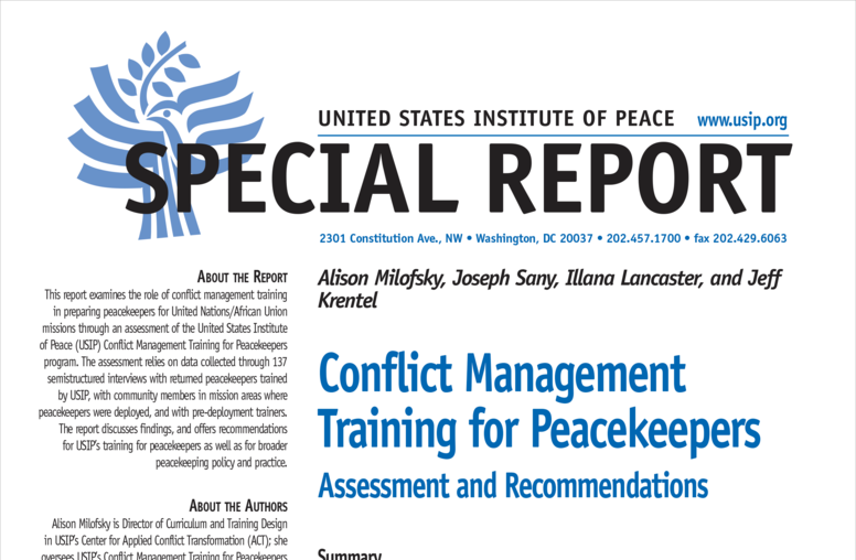 Conflict Management Training for Peacekeepers