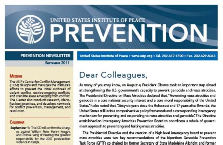 USIP Prevention Newsletter - September 2011