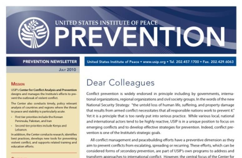 USIP Prevention Newsletter - July 2010