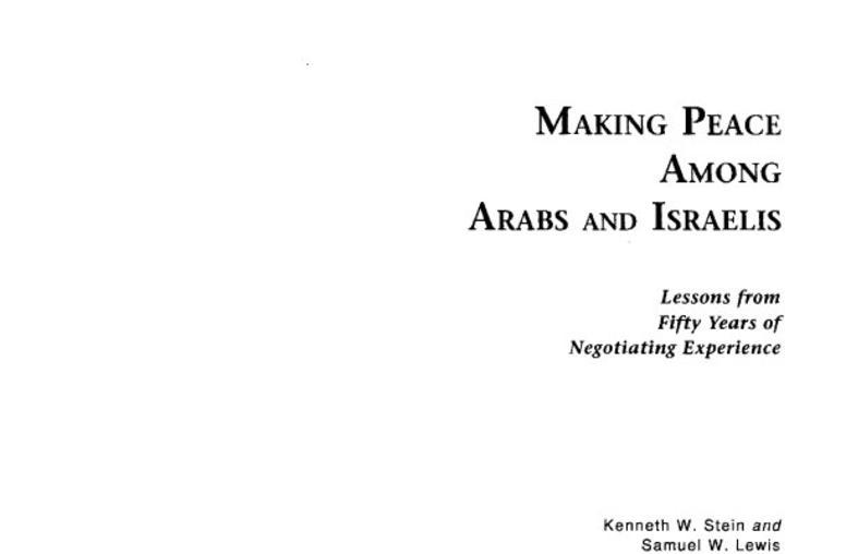 Making Peace among Arabs and Israelis