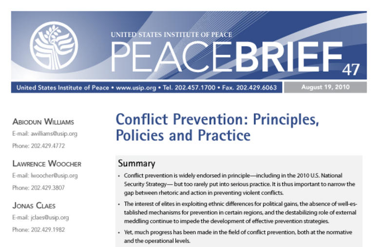 Conflict Prevention: Principles, Policies and Practice