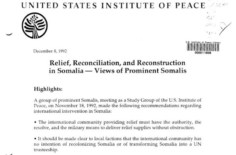 Relief, Reconciliation, and Reconstruction in Somalia: Views of Prominent Somalis