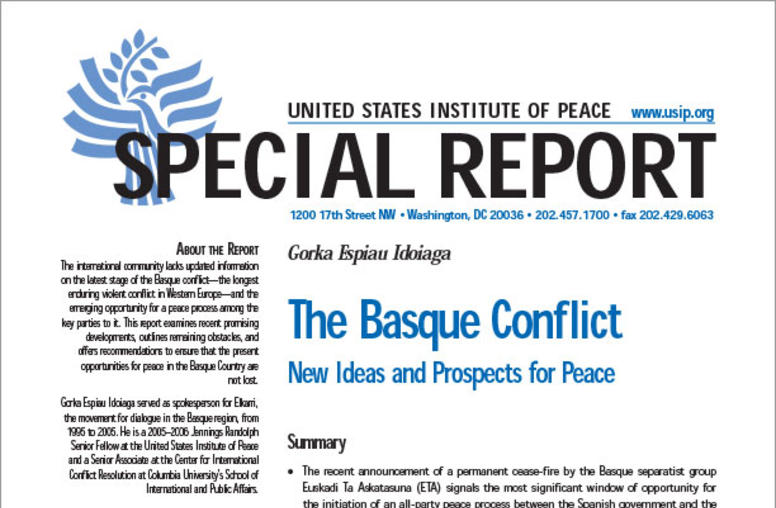 The Basque Conflict: New Ideas and Prospects for Peace