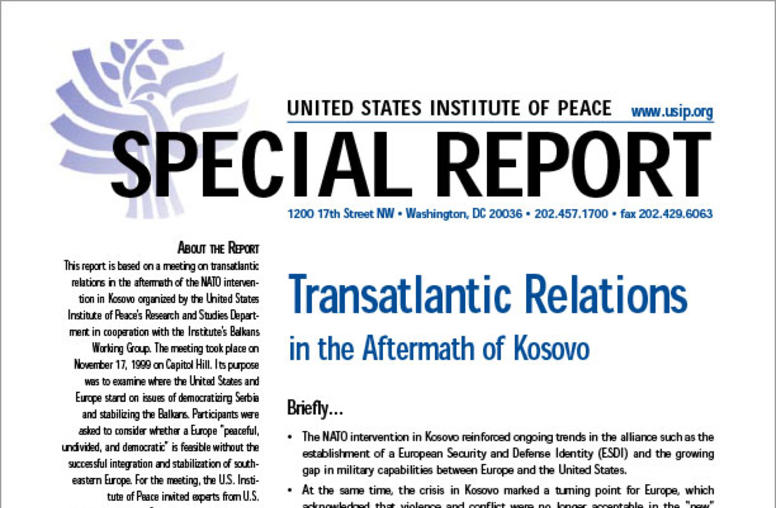 Transatlantic Relations In the Aftermath of Kosovo