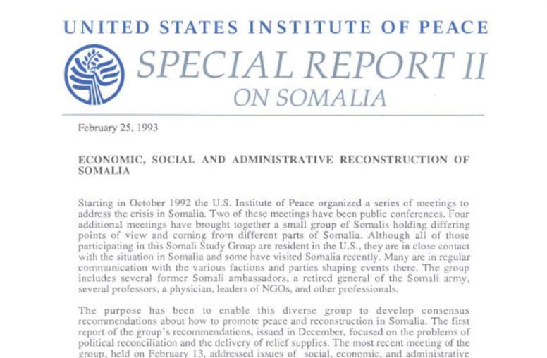 Economic, Social and Administrative Reconstruction of Somalia