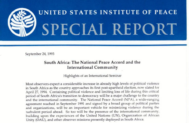 South Africa: The National Peace Accord and the International Community